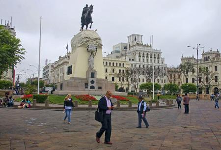 jose de san martin: LIMA, PERU - DECEMBER 2, 2015: Monument to General Jose de San Martin on 2 December 2015 in Lima, Peru. San Martin Square is one of the main squares of the city