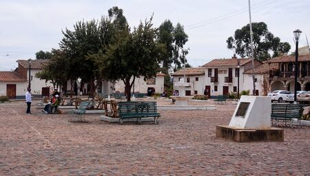 independance: QUINUA, PERU - NOVEMBER 5, 2015: The main square in the town in Quinua on 5 November 2015 in Quinua, Peru. Quinua is a place making ceramic objects near Ayacucho