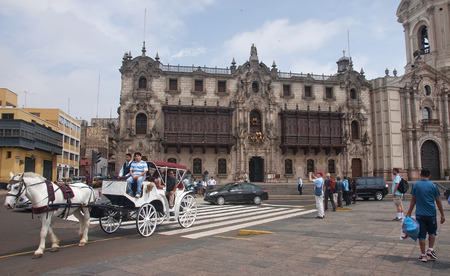 archbishop: LIMA, PERU - DECEMBER 2, 2015: Archbishop s Palace on 2 December 2015 in Lima, Peru. Archbishops Palace is located on the main square of the city and is in a museum.
