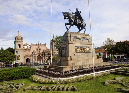 puna: Monument on the main square Plaza de Armas in Ayacucho, Peru Stock Photo