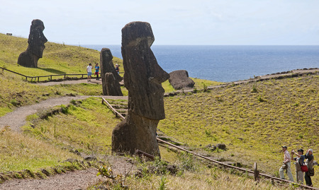 rapa nui: HANGA ROA, ESTER ISLAND, CHILE - NOVEMBER 10, 2015: Rano Raku -the old quarries on the island of Rapa Nui on 10 November 2015 in Hanga Roa, Ester Island, Chile.In the Rano Raku created almost all the moai