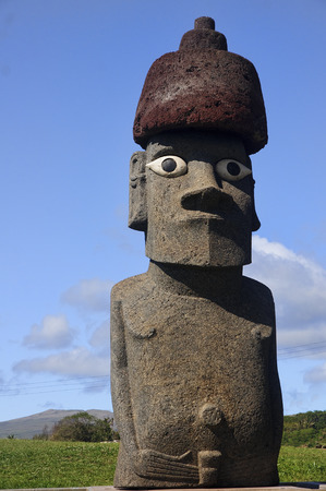 Easter Island, Chile - old moai statues on the waterfront Stock Photo