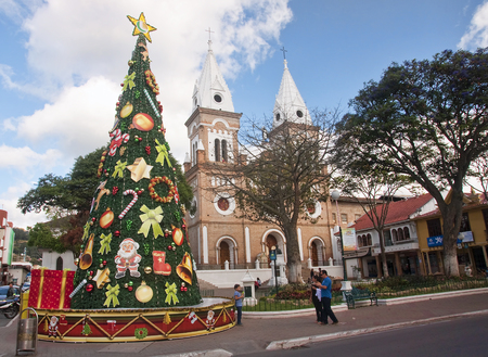 loja: LOJA, ECUADOR - NOVEMBER 29, 2015: One of the historic churches in the city on 29 November 2015 in Loja, Ecuador. The town has several squares and historic churches