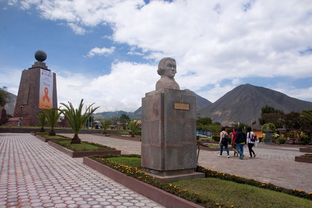 equator: QUITO, ECUADOR - NOVEMBER 26, 2015:  Monument Mitad del Mundo on 26 November 2015 in Quito, Ecuador. This place is called the navel of the world situated exactly on the equator Editorial