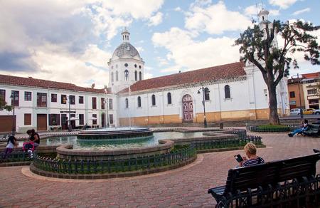 mariano: CUENCA, ECUADOR - NOVEMBER 27, 2015: One of the colonial churches in Cuenca on 27 November 2015 in Cuenca, Ecuador. The Cuenca are many historic churches from the colonial period