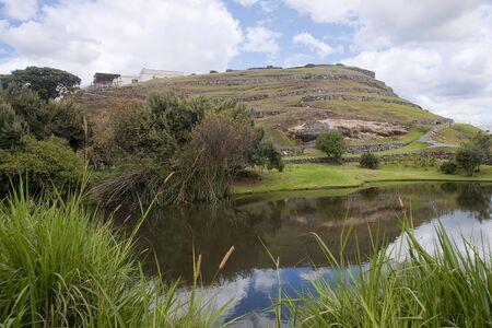 inca ruins: Ancient Inca ruins of Pumapungo in Cuenca, Ecuador Stock Photo