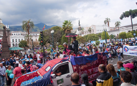 QUITO, ECUADOR - NOVEMBER 25, 2015: Parade on Independence Square on 25 November 2015 in Quito, Ecuador. This is the main square in the capital of Ecuador Editorial