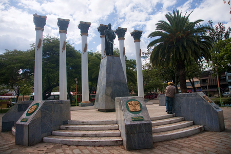 loja: LOJA, ECUADOR - NOVEMBER 29, 2015: Monument to one of the squares of the city on 29 November 2015 in Loja, Ecuador. The town has several squares and historic churches