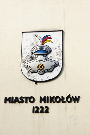 city coat of arms: Coat of arms of the city Mikolow (Poland) Editorial