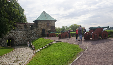 OSLO, NORWAY - SEPTEMBER 16, 2016:  Akershus Fortress on 16 September 2016 in Oslo, Norway. The first work on the fortress to 1290.Today the fort is located a number of museums of a military nature