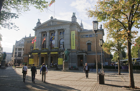 OSLO, NORWAY - SEPTEMBER 16, 2016: Oslo  Nationaltheatret (The National Theater) on 16 September 2016 in Oslo, Norway. The ceremonial opening took place on September 1, 1899 year.