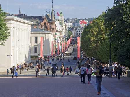 OSLO, NORWAY - SEPTEMBER 16, 2016: Oslo  Karl Johans gate on 16 September 2016 in Oslo, Norway. The main street in Oslo at the end of which the Royal Palace Editorial