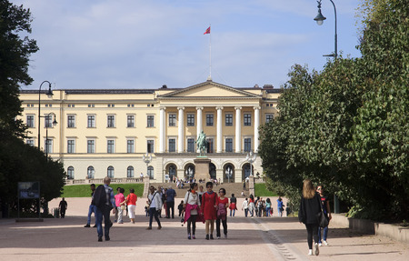 OSLO, NORWAY - SEPTEMBER 16, 2016: Oslo  The Royal Palace on 16 September 2016 in Oslo, Norway. Official residence of the Norwegian monarchs and one of the most emblematic buildings of the Oslo.