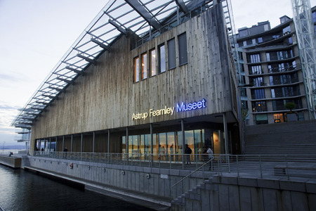 OSLO, NORWAY - SEPTEMBER 16, 2016: Astrup Fearnley Museum on 16 September 2016 in Oslo, Norway. The building of the new museum has a modern form, and is an attraction for tourists Editorial