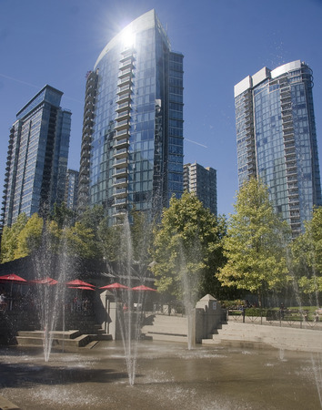 VANCOUVER, CANADA - AUGUST 27, 2016: The city center around the Vancouver Convention Centre on 27 August 2016 in Vancouver, Canada. This place is situated in the center.
