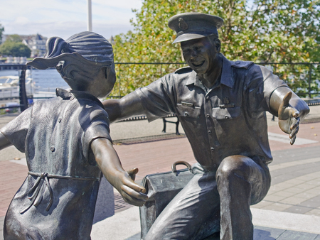 frequented: VICTORIA, CANADA - AUGUST 27, 2016: Monument in Victoria Harbour on 27 August 2016 in Vctoria, Canada. It is a place often frequented by tourists as it is located in the city center