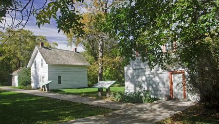 third wheel: Historic houses in Edmonton on the Saskatchewan River (Canada, Alberta)