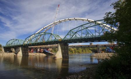 Modernization of the old bridge in Edmonton (Canada, Alberta) Stock Photo