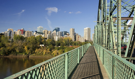 View of downtown Edmonton from bridge (Canada, Alberta) Stock Photo