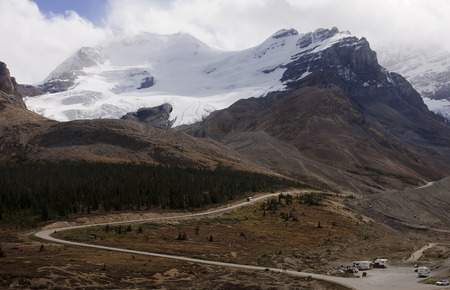 icefield: View from icefields parkway to the columbia icefield (Canada)