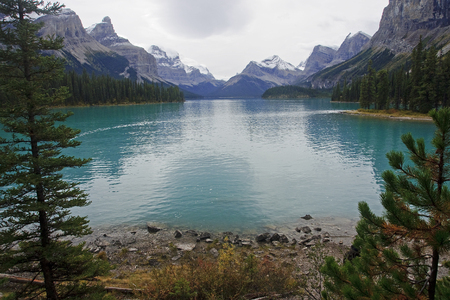Maligne Lake near Jasper in Rocky Mountains (Canada) Stock Photo