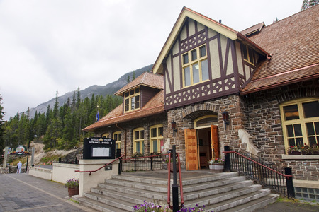 2 way: BANFF, CANADA - SEPTEMBER 2, 2016: Banff Upper Hot Springs on 2 September 2016 in Banff, Canada. Pools with warm water in the air are a great way to relax