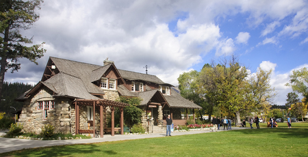 JASPER, CANADA - SEPTEMBER 10, 2016: Tourist Visitor Center on 10 September 2016 in Jasper, Canada. Visitor Center is housed in a historic building in the center of town