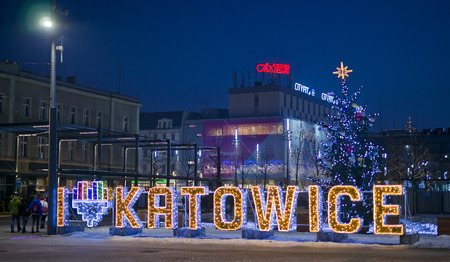 KATOWICE, POLAND - JANUARY 27, 2017: Night view of the city center on 27 January 2017 in Katowice, Poland. At Christmas time the center is beautifully adorned and illuminated