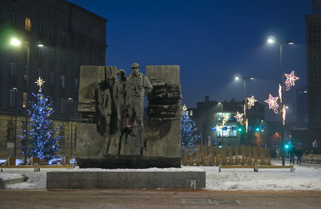 KATOWICE, POLAND - JANUARY 27, 2017: Monument fighting Scouts Silesian on 27 January 2017 in Katowice,, Poland. This monument is located on the marketplace in the center of the city Editorial
