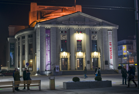 KATOWICE, POLAND - JANUARY 27, 2017: Night view of the theater S. Wyspianskiego on 27 January 2017 in Katowice, Poland. The theater is located in the center of town and it is a historical site Editorial