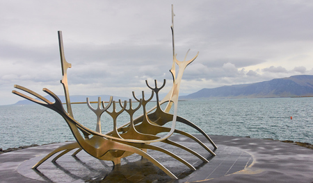 REYKJAVIK, ICELAND - SEPTEMBER 15, 2016: The Sun Voyager on 15 September 2016 in Reykjavik, Iceland. The Sun Voyager it is a characteristic monument on the seafront