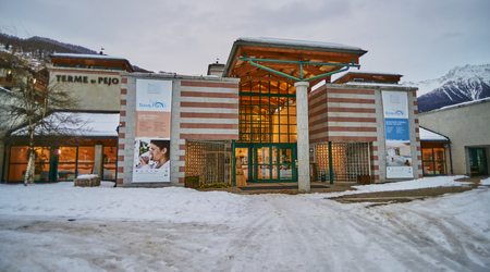 PEJO FONTI, ITALY - MARCH 6, 2017:Thermes in the center of the village on 6 March 2017 in Pejo Fonti, Italy. Thermes are a favorite place to relax after skiing Editorial
