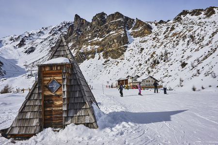 PEJO, ITALY - MARCH 8, 2017: Dos dei Gembri on 8 March 2017 in Pejo, Italy. It is one of the shelters on the ski slopes in the vicinity of Pejo