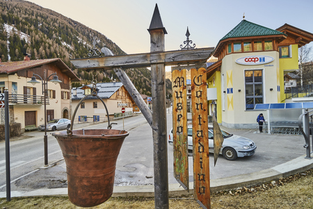 CELLEDIZZO, ITALY - MARCH 10, 2017: Market in the center of the village on 10 March 2017 in Celledizzo, Italy. It is a small town in the popular skiing area of Val di Sole