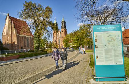 30 s: POZNAN, POLAND - APRIL 30, 2017: Cathedral and St. Mary s Church on Ostrow Tumski Island on 30 April 2017 in Poznan, Poland. In the basement of this cathedral there are graves of the first kings of Poland