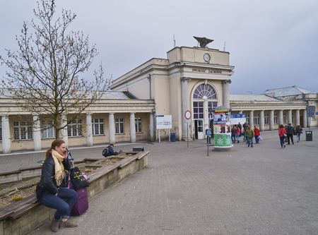 cupolas: POZNAN, POLAND - APRIL 29, 2017: Western train station on 29 April 2017 in Poznan, Poland. There is a large shopping center in the station building