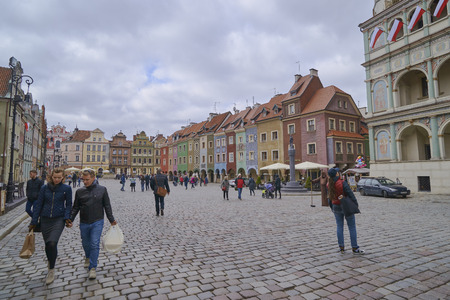 POZNAN, POLAND - APRIL 30, 2017: Old town square on 30 April 2017 in Poznan, Poland. Poznan is the former capital of Poland - a city with many old monuments