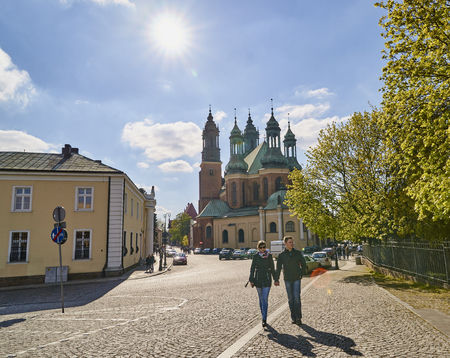 POZNAN, POLAND - APRIL 30, 2017: Cathedral and St. Mary s Church on Ostrow Tumski Island on 30 April 2017 in Poznan, Poland. In the basement of this cathedral there are graves of the first kings of Poland