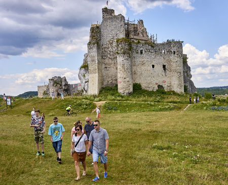 MIROW, POLAND - JULY 16, 2017: Ruins of medieval castle in Mirow on 16 July 2017 in Mirow, Poland. This castle was built in the days of King Kazimierz Wielki, about the middle of the 14th century.