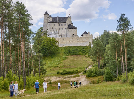 bobolice: BOBOLICE, POLAND - JULY 16, 2017: Medieval castle in Bobolice on 16 July 2017 in Bobolice, Poland. This castle was built in the days of King Kazimierz Wielki, about the middle of the 14th century. Editorial