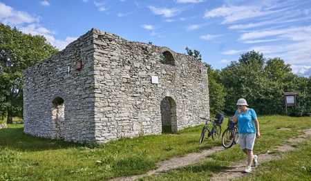 bobolice: ZARKI, POLAND - JULY 16, 2017: Ruins of the church of Sts. Stanislaw in Zarki on 16 July 2017 in Zarki, Poland. Ruins of Baroque church from 2nd half 18th century