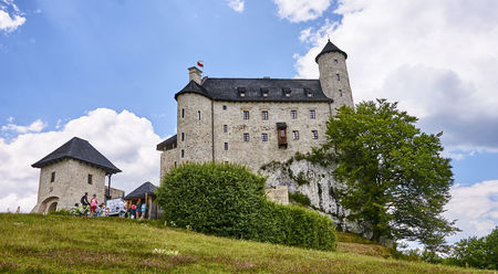 BOBOLICE, POLAND - JULY 16, 2017: Medieval castle in Bobolice on 16 July 2017 in Bobolice, Poland. This castle was built in the days of King Kazimierz Wielki, about the middle of the 14th century. Editorial