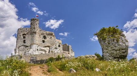 bobolice: Ruins of medieval castle in Mirow (Poland)