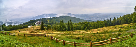 Panorama from the Rownica (Beskid Slaski, Poland) peak above the tourist hostel