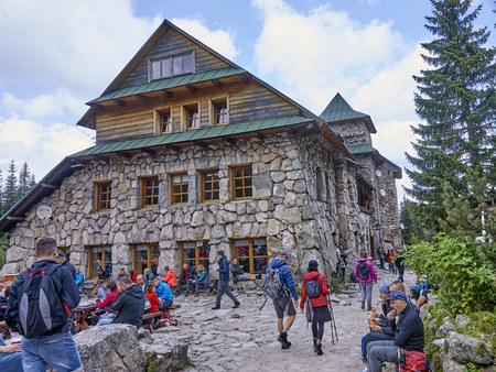ZAKOPANE, POLAND - SEPTEMBER 10, 2017: Shelter Murowaniec in Tatra Mountain on 10 September 2017 in Zakopane, Poland. Murowaniec is located in G�sienicowa Hall and is a popular holiday destination Editorial
