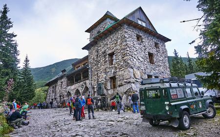ZAKOPANE, POLAND - SEPTEMBER 10, 2017: Shelter Murowaniec in Tatra Mountain on 10 September 2017 in Zakopane, Poland. Murowaniec is located in G�sienicowa Hall and is a popular holiday destination