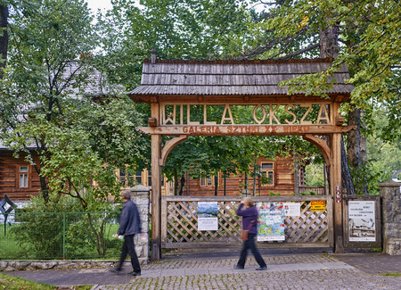 ZAKOPANE, POLAND - SEPTEMBER 9, 2017: Art museum XX century Willa Oksza on 9 September 2017 in Zakopane, Poland. The historic building houses the art gallery of the twentieth century willingly visited by tourists