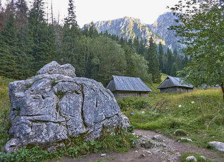 Pastoral sheds in the Strazyska valley in the Tatra Mountain (Poland).