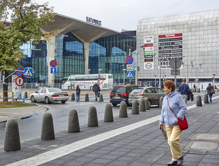 KATOWICE, POLAND - SEPTEMBER 16, 2017:Railway station in Katowice on 16 September 2017 in Katowice, Poland. The train station is in the city center and next to it is a large shopping mall.