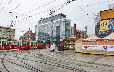 KATOWICE, POLAND - SEPTEMBER 16, 2017: The main square in the city center on 16 September 2017 in Katowice, Poland. Renovated main square in Katowice is the venue for relaxation and walks